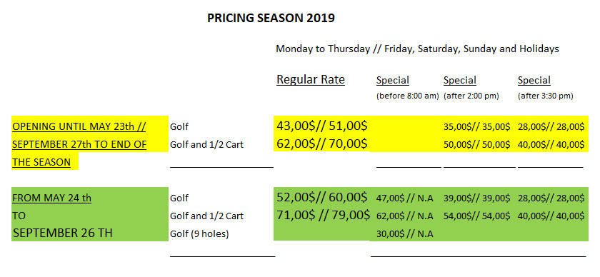 pricing 2019